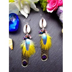 "Ethnic feather earrings and shell ""Summer time"""
