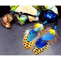 Collier ethnique plumes, coeur en labradorite