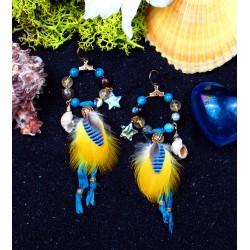 Boucles d'oreilles créoles plumes, coquillage et abalone