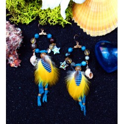 Creole earrings feathers, shells and abalone