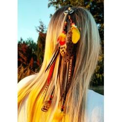 Bijou de cheveux plumes naturelles et renard