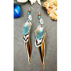 Boucles d'oreilles ethnique amérindiennes plumes