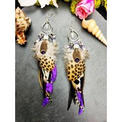 """Rebel"" long feather ethnic feather earrings"
