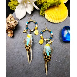 """Boucles d'oreilles créoles plumes """"Le soleil doré"""""""