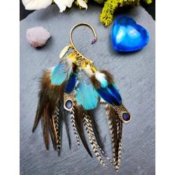 Ear cuff plumes naturelles paon et geai