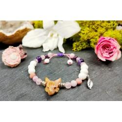 Bracelet ethnique avec loup en opale rose des Andes