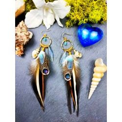 Feathered Creole earrings, shell and labradorite