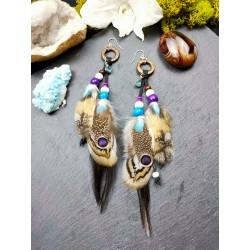 Ethnic owl feather and apatite earrings