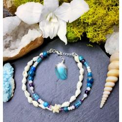 Bracelet de cheville ethnique plumes et coquillages