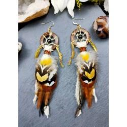 """Boucles d'oreilles attrape rêves totem renard """"Golden fox"""""""