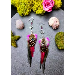 Dragonfly totem feather earrings