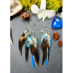 Earring - ear cuff feathers and labradorite