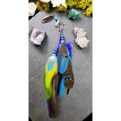 "Jewel of Native American hair natural feathers with turtle ""Travel to Tahiti"""