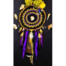 Grand Attrape rêves bois artisanal avec ammonite arc en ciel