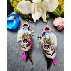 Whale totem feather earrings