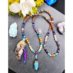 Mala chamanique 108 perles labradorite et plumes de chouette