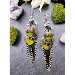 Boucles d'oreilles ethniques plumes naturelles de paon