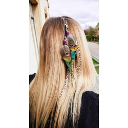 """Jewel of natural peacock feather hair """"Dream time"""""""