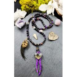 """Mala 108 perles chamanique avec coeur en obsidienne dorée """"Coeur d'or"""""""