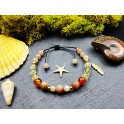 Ethnic bracelet with sunstone and citrine