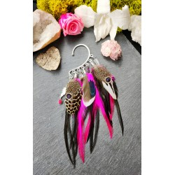 "Ear cuff natural feathers and ruby ""Passion inflamed"""