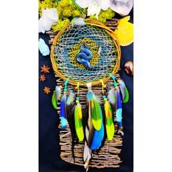 Attrape rêves artisanal totem serpent et labradorite