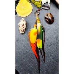 Bijou de cheveux plumes naturelles oranges et jaunes