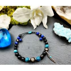 Bracelet ethnique homme macramé obsidienne et lapis lazuli