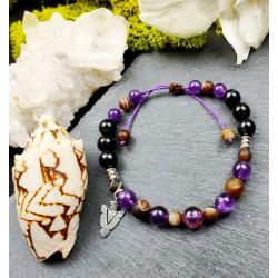 Bracelet ethnique homme macramé améthyste et agate