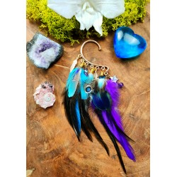 Ear cuff natural peacock and parrot feathers