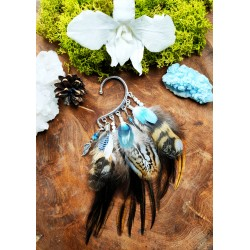Ear cuff natural feathers totem owl