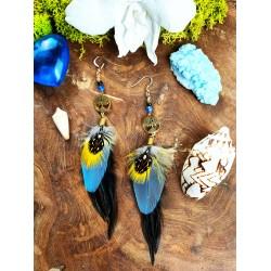 Boucles d'oreilles arbre de vie et plumes naturelles