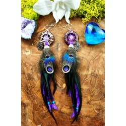 Earrings catches feathers and opal dreams