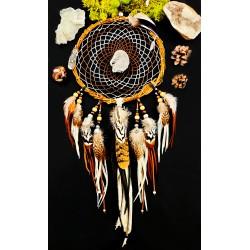 "Attrape rêves bois artisanal plumes totem aigle avec obsidienne argentée ""Eyes on you"""