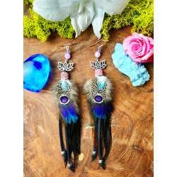 "Ethnic feather and lotus earrings ""Lovely day"""