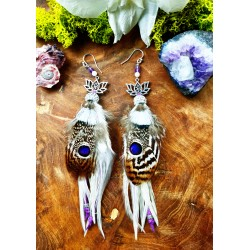 "Ethnic feather and lotus earrings ""Peaceful"""