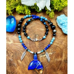 Mixed whale totem collar with lapis lazuli