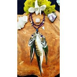 Headband avec plumes naturelles de hibou et faisan