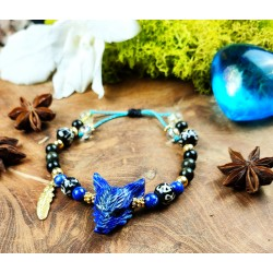 "Bracelet ethnique avec loup en lapis lazuli ""Goddess of night"""