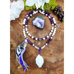 Mala 108 perles chamanique avec plumes et renard polaire