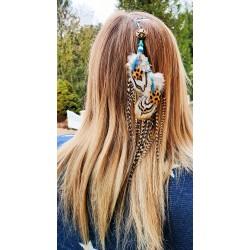 """Bijou de cheveux plumes naturelles avec arbre de vie """"Life is a mystery"""""""