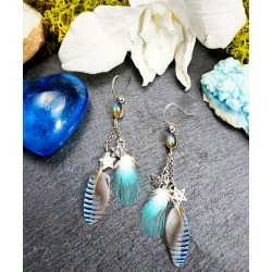 Boucles d'oreilles plumes labradorite et étoiles en argent 925