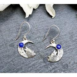 Boucles d'oreilles loup et lapis lazuli en argent