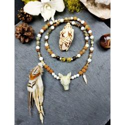Mala 108 perles chamanique totem loup et plumes