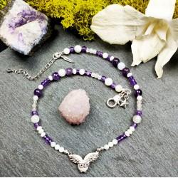 Bracelet en pierre naturelles et hibou en nacre