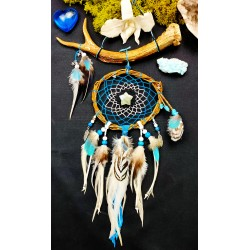 Attrape rêves bois artisanal avec le totem du cerf et labradorite