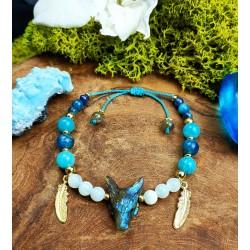 Bracelet ethnique avec loup en labradorite