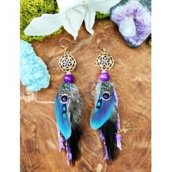 Boucles d'oreilles ethniques plumes naturelles avec fleur de vie