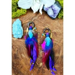 Boucles d'oreilles ethniques plumes naturelles avec colibri