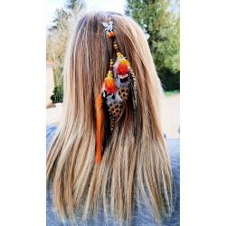 Bijou de cheveux plumes naturelles rouges et noires avec phoenix